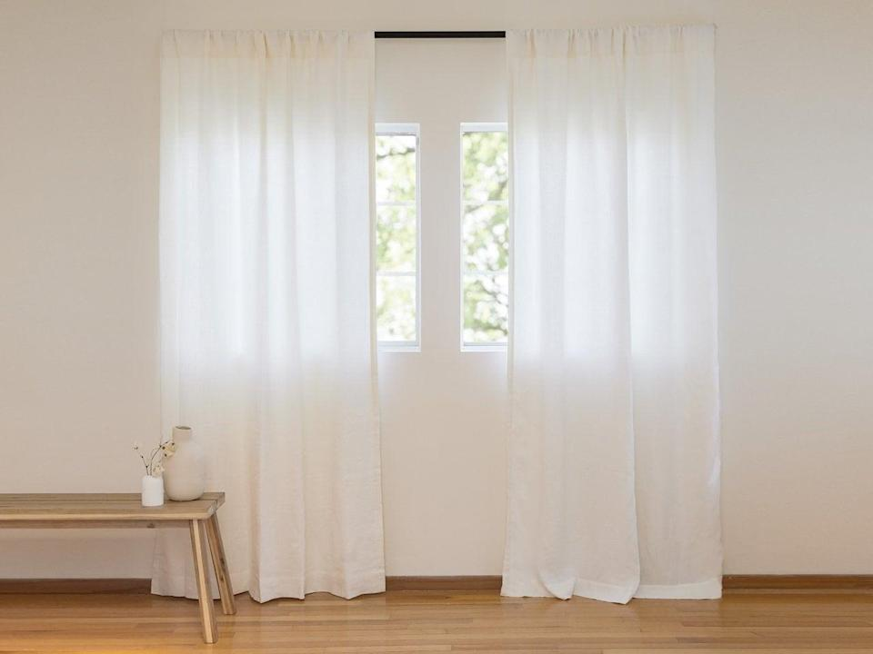 """<p>""""Recently, I've been on a mission to redecorate my bedroom, and these <span>Parachute Washed Linen Curtains</span> ($169-$189) were the perfect finishing touch to my space. Not only do they provide more privacy for my room, but they give it a cozier feel. Hands down, the best thing about them is the quality. The new curtains are made with 100 percent linen and 100 percent cotton lining. They come pre-washed and ready to use, but I know I can wash them throughout the years and they won't wear. The versatile design will look beautiful no matter the style of your home, and can be used on its own or layered with more pieces."""" - KJ</p> <p>If you want to read more, here is the <a href=""""https://www.popsugar.com/home/parachute-curtains-editor-review-47637403"""" class=""""link rapid-noclick-resp"""" rel=""""nofollow noopener"""" target=""""_blank"""" data-ylk=""""slk:Parachute Washed Linen Curtains"""">Parachute Washed Linen Curtains</a> review.</p>"""