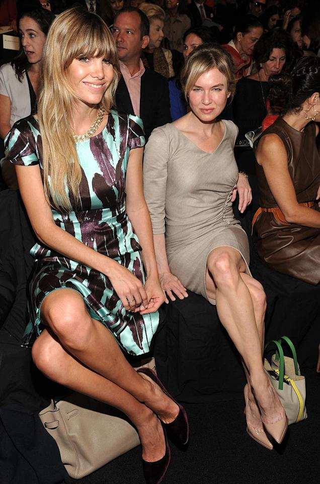 "Also checking out Herrera's Spring 2012 collection was Renee Zellweger, who struck her best model pose for the cameras. In case you're wondering, the woman next to her is Delfina Blaquier, a former model-turned-photographer who is married to the world-famous Argentinean polo player Nachos Figueras Mike Coppola/<a href=""http://www.gettyimages.com/"" target=""new"">GettyImages.com</a> - September 12, 2011"