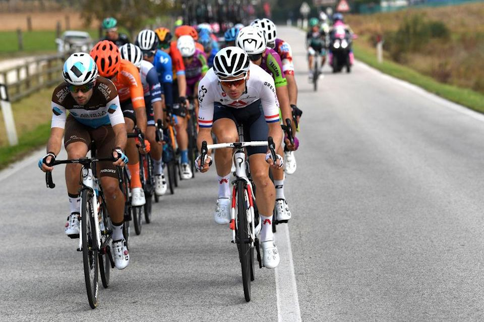 SAN DANIELE DEL FRIULI ITALY  OCTOBER 20 Andrea Vendrame of Italy and Team Ag2R La Mondiale  Ben Swift of The United Kingdom and Team INEOS Grenadiers  Breakaway  during the 103rd Giro dItalia 2020 Stage 16 a 229km stage from Udine to San Daniele Del Friuli 249m girodiitalia  Giro  on October 20 2020 in San Daniele Del Friuli Italy Photo by Tim de WaeleGetty Images