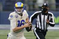 Los Angeles Rams quarterback Jared Goff (16) looks to pass against the Seattle Seahawks during the second half of an NFL football game, Sunday, Dec. 27, 2020, in Seattle. (AP Photo/Elaine Thompson)