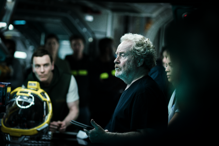 Michael Fassbender and Ridley Scott on the set of