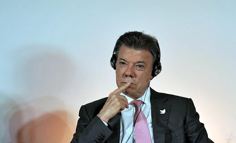 President Juan Manuel Santos, pictured here on May 22, 2015, will meet Pope Francis in mid-June as part of a European tour, Colombia's foreign minister said in comments