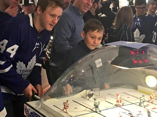 Some bubble hockey for the boys.