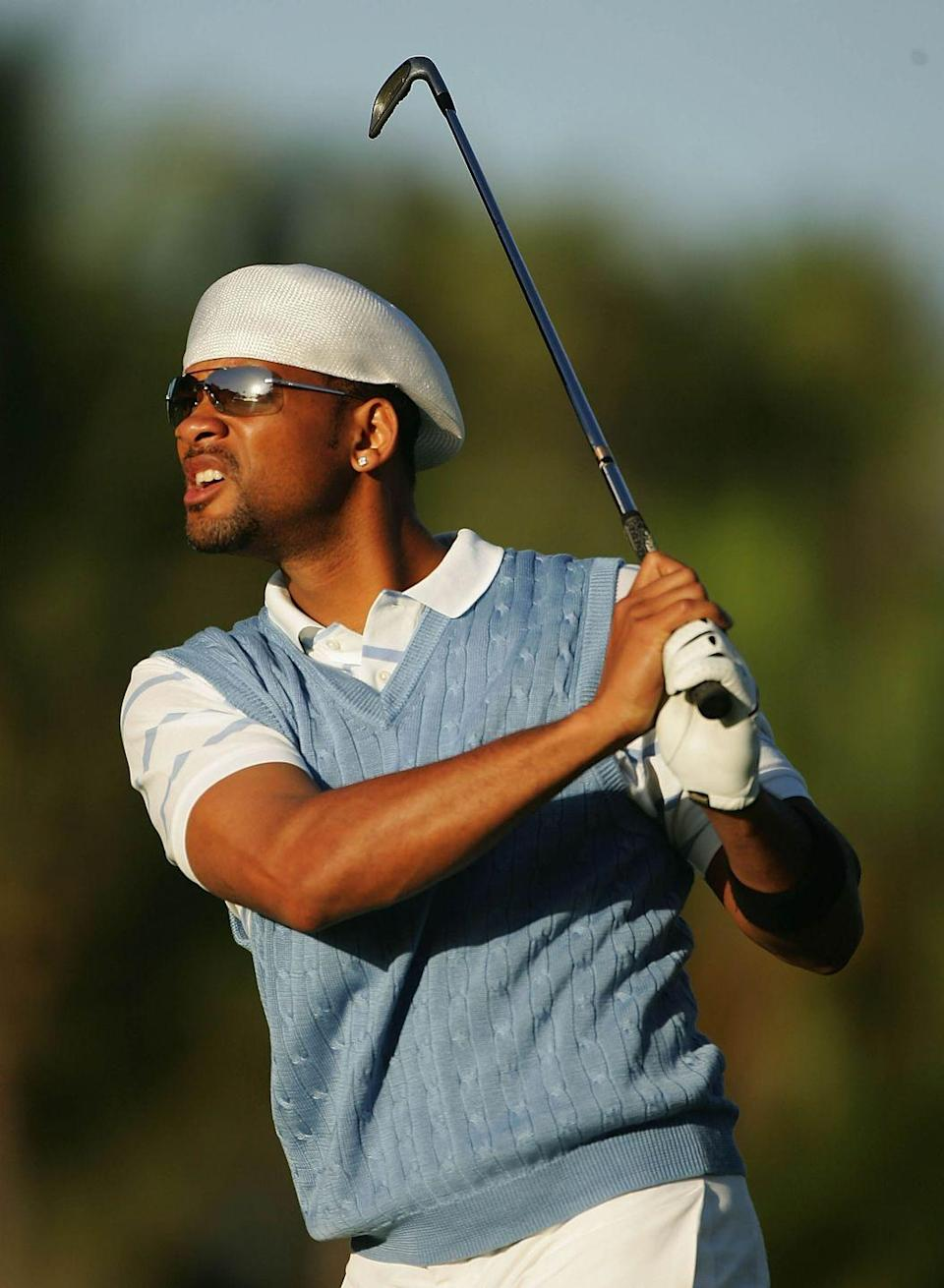 <p>Will Smith watches a shot during the Pro-Am at the Sony Open at the Waialae Country Club on December 12, 2005 in Honolulu, Hawaii.</p>