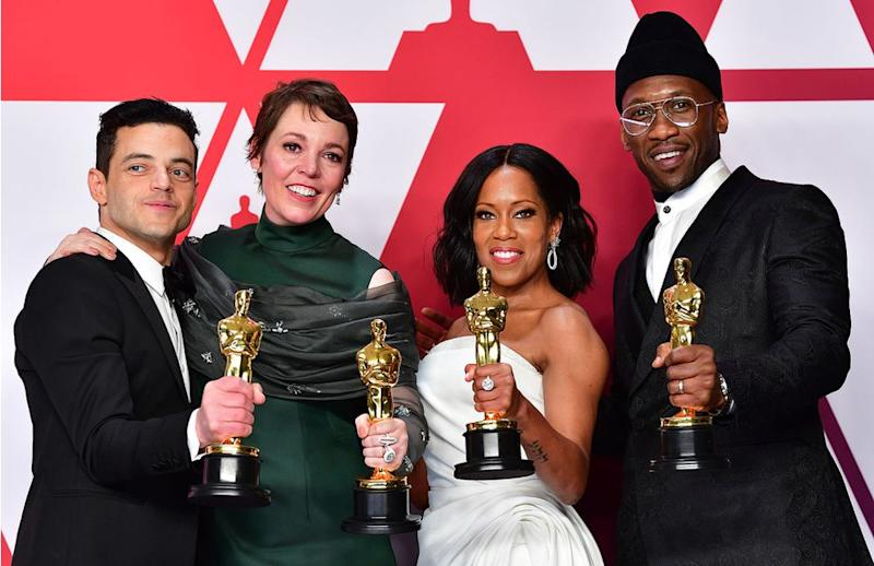 Rami Malek, Olivia Colman, Regina King and Mahershala Ali | FREDERIC J. BROWN/AFP/Getty