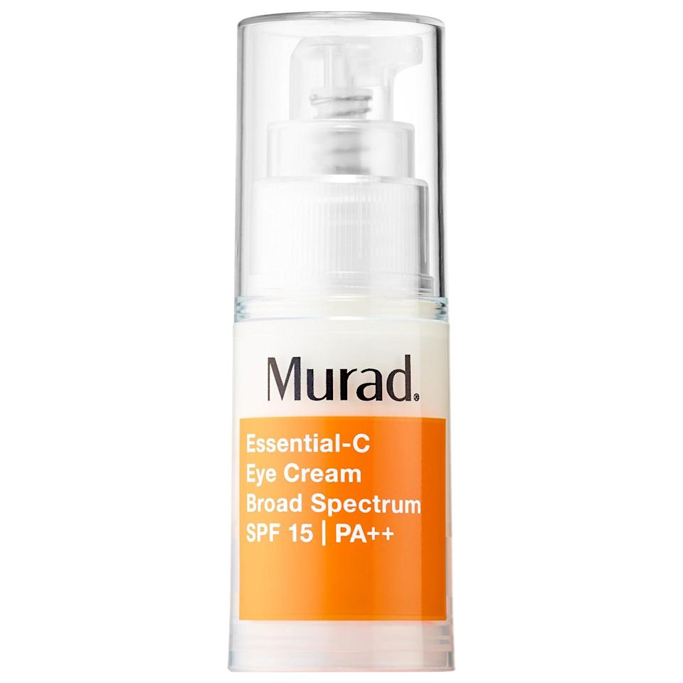 """<p>Not only does this <a href=""""https://www.popsugar.com/buy/Murad-Essential-C-Eye-Cream-SPF-15-PA-553533?p_name=Murad%20Essential-C%20Eye%20Cream%20SPF%2015%20PA%2B%2B&retailer=sephora.com&pid=553533&price=70&evar1=bella%3Auk&evar9=47275268&evar98=https%3A%2F%2Fwww.popsugar.com%2Fbeauty%2Fphoto-gallery%2F47275268%2Fimage%2F47275279%2FMurad-Essential-C-Eye-Cream-SPF-15-PA&list1=shopping%2Csephora%2Ceye%20cream%2Cvitamin%20c%2Cbeauty%20shopping&prop13=api&pdata=1"""" rel=""""nofollow noopener"""" class=""""link rapid-noclick-resp"""" target=""""_blank"""" data-ylk=""""slk:Murad Essential-C Eye Cream SPF 15 PA++"""">Murad Essential-C Eye Cream SPF 15 PA++</a> ($70) brighten up the undereye area with vitamin C, but there's also an added boost of UV protection inside so eyes stay safe from sun damage and <a href=""""https://www.popsugar.com/beauty/best-antiaging-products-at-sephora-47163596"""" class=""""link rapid-noclick-resp"""" rel=""""nofollow noopener"""" target=""""_blank"""" data-ylk=""""slk:younger-looking longer"""">younger-looking longer</a>. The hard-working, top-rated cream also has retinol to support cell renewal and caffeine to limit puffiness at the same time.</p>"""