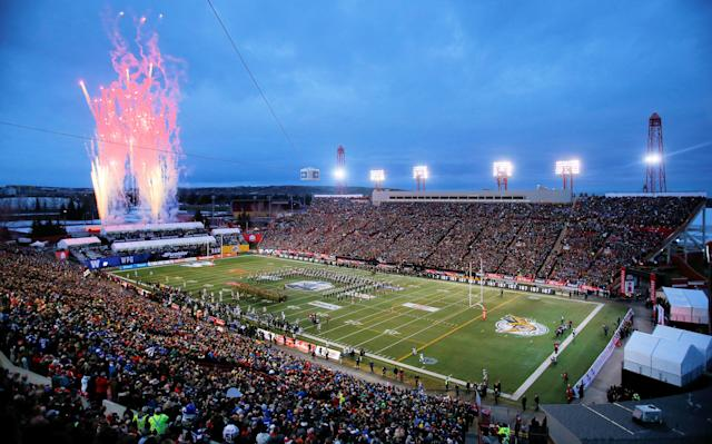 A general view of McMahon Stadium before the 107th Grey Cup between the Hamilton Tiger-Cats and Winnipeg Blue Bombers on November 24, 2019, in Calgary, Canada. (John E. Sokolowski/Getty Images)