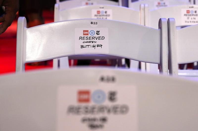 A seat is reserved at the fourth Democratic debate for Chasten Buttigieg, husband of presidential hopeful Pete Buttigieg.