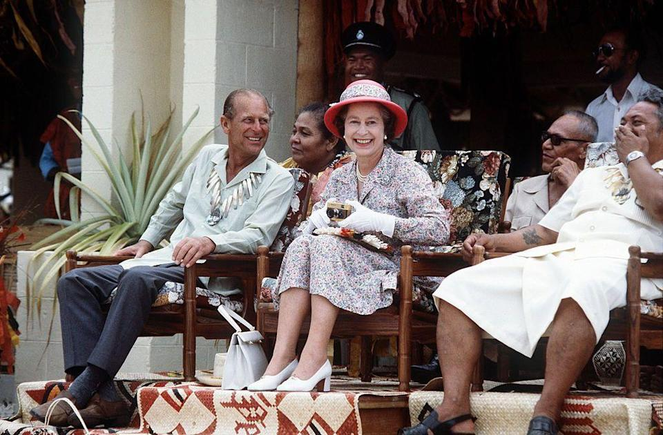 <p>Laughing with the Queen on a visit to Tuvalu in the South Pacific. </p>