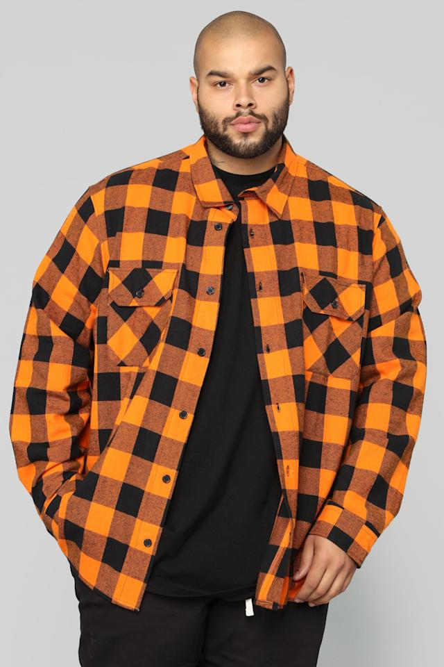 "<p>Flannel seems to be that one wardrobe item we keep seeing return season after season. Going for a bright color like orange or yellow allows you to easily stand out from the rest. Plus, it will look great with skinny black jeans and boots.<br /><a rel=""nofollow"" href=""https://fave.co/2SJT1LS""><strong>Shop it:</strong></a> Kane's Long-Sleeve Flannel Top, <a rel=""nofollow"" href=""https://fave.co/2SJT1LS"">$25</a> </p>"