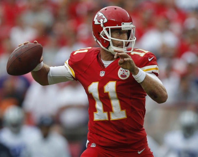 Kansas City Chiefs quarterback Alex Smith (11) throws a pass during the first half of an NFL football game against the Dallas Cowboys at Arrowhead Stadium in Kansas City, Mo., Sunday, Sept. 15, 2013. (AP Photo/Ed Zurga)