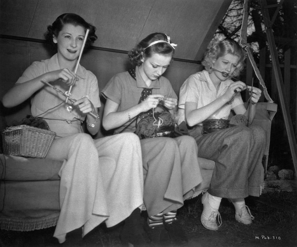 <p>One of Lucille's first big roles was playing Lillian Temple in <em>Chatterbox. </em>Here, she knits on set between scenes with fellow actresses Patricia Wilder and Anne Shirley.</p>