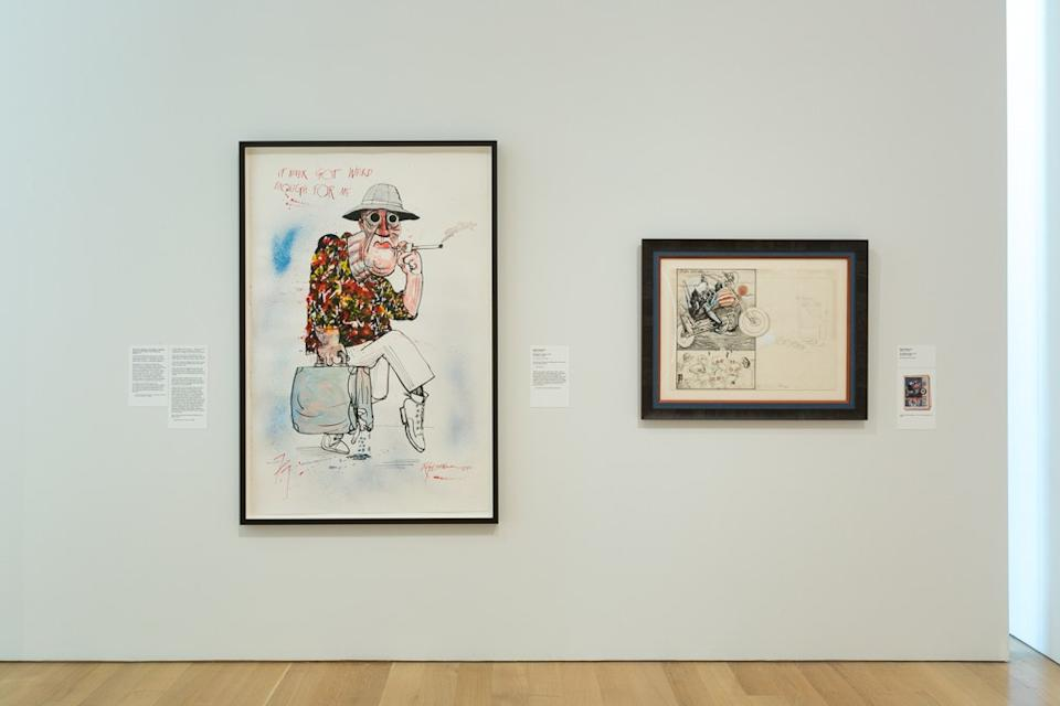 """<div class=""""caption""""> An installation view of <em>Gonzo! The Illustrated Guide to Hunter S. Thompson</em> at The Speed Art Museum </div> <cite class=""""credit"""">Sarah Lyon / Courtesy of The Speed Art Museum</cite>"""