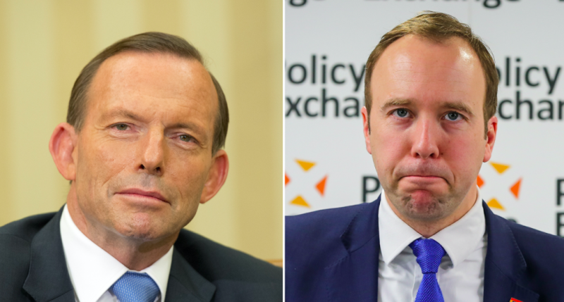 Health Secretary Matt Hancock (right) defended former prime minister of Australia Tony Abbott (left) when questioned over his views. (PA)