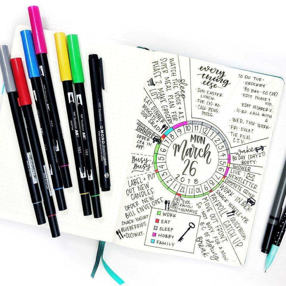 """<p>While pretty <a href=""""https://lifebywhitney.com/circle-trackers/"""" rel=""""nofollow noopener"""" target=""""_blank"""" data-ylk=""""slk:bullet journal"""" class=""""link rapid-noclick-resp"""">bullet journal</a> styles abound, circle day trackers are both gorgeous <em>and</em> useful. This one from Life by Whitney breaks up your entire day into manageable chunks of time so you can see what's happening and when. But you don't have to stop there. Circles work well for weekly, monthly, habit, or mood trackers, too. </p>"""