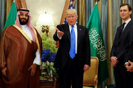 FILE PHOTO: U.S. President Donald Trump, flanked by White House senior advisor Jared Kushner, meets with Saudi Arabia's Deputy Crown Prince Mohammed bin Salman at the Ritz Carlton Hotel in Riyadh, Saudi Arabia May 20, 2017. REUTERS/Jonathan Ernst