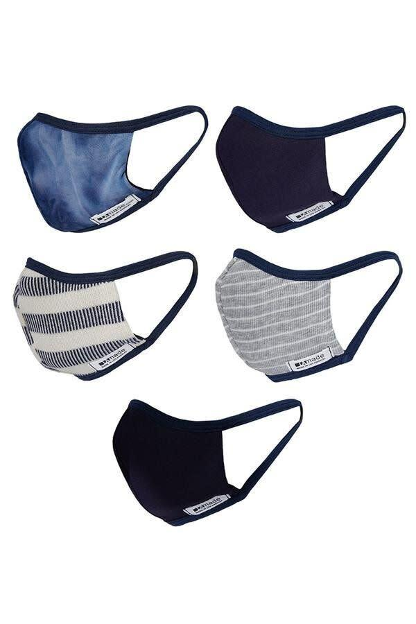"This brand sells several different five-packs of styles &mdash; tie-dye, for him, for her, stripes, etc. &mdash; in a reversible two-layer cotton blend fabric.<br><a href=""https://lamadeclothing.com/collections/masks/products/the-she-pack-5"" rel=""nofollow noopener"" target=""_blank"" data-ylk=""slk:Get the LA Made Fun Pack of 5 for $50"" class=""link rapid-noclick-resp""><strong><br>Get the LA Made Fun Pack of 5 for $50</strong></a>"