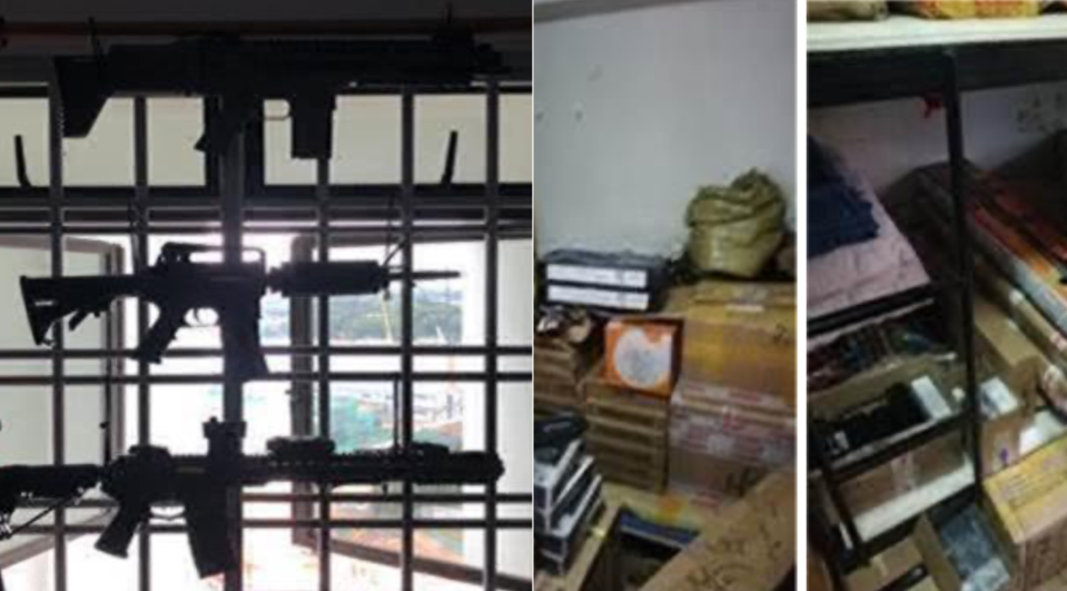 The arms seized from Liu's house. (PHOTO: Singapore Police Force)