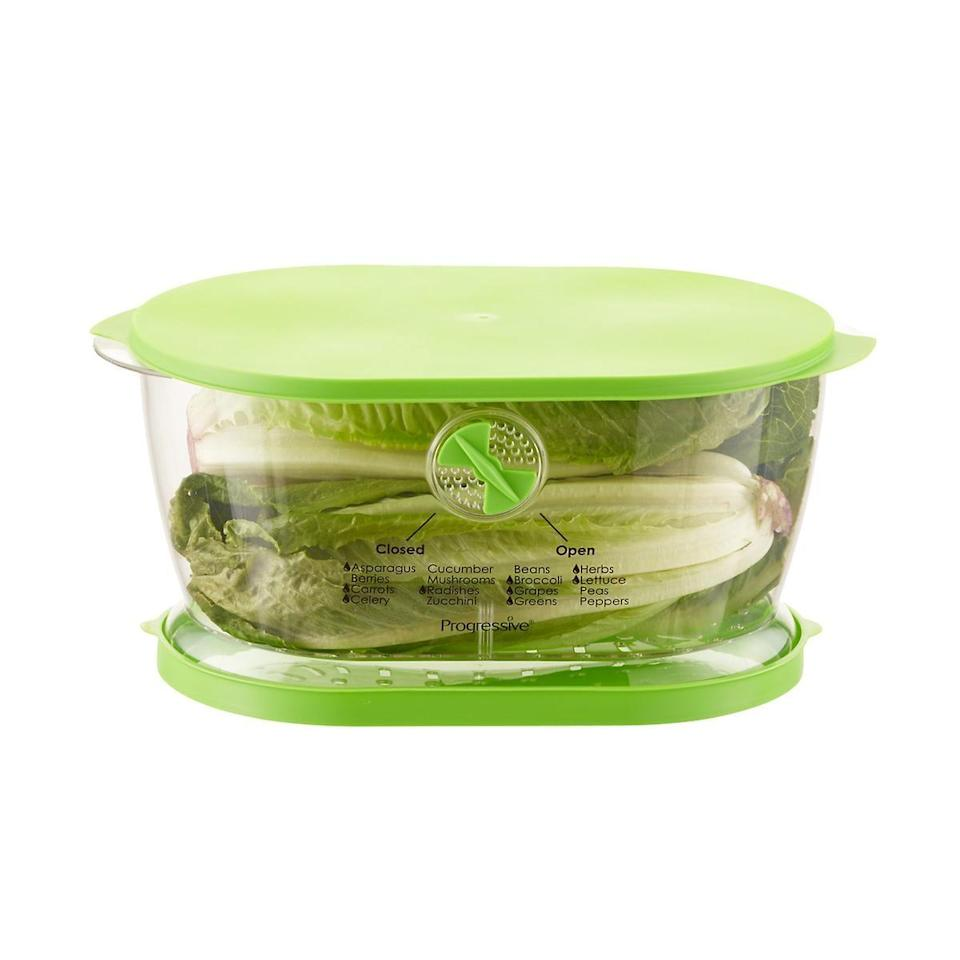 """<p>Store your lettuce in this <a href=""""https://www.popsugar.com/buy/Produce-Keeper-475857?p_name=Produce%20Keeper&retailer=containerstore.com&pid=475857&price=12&evar1=yum%3Aus&evar9=46457983&evar98=https%3A%2F%2Fwww.popsugar.com%2Fphoto-gallery%2F46457983%2Fimage%2F46457992%2FLettuce-Produce-Keeper&list1=shopping%2Cfood%20storage%2Ckitchen%20accessories&prop13=api&pdata=1"""" class=""""link rapid-noclick-resp"""" rel=""""nofollow noopener"""" target=""""_blank"""" data-ylk=""""slk:Produce Keeper"""">Produce Keeper</a> ($12, originally $15), and it will last so much longer.</p>"""