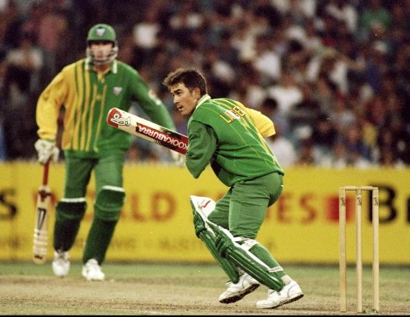 13 Dec 1994:  Justin Langer of Australia ''A'' in action against England in the Benson and Hedges World Series match at the Melbourne Cricket Ground in Australia.  \ Mandatory Credit: Ben Radford /Allsport