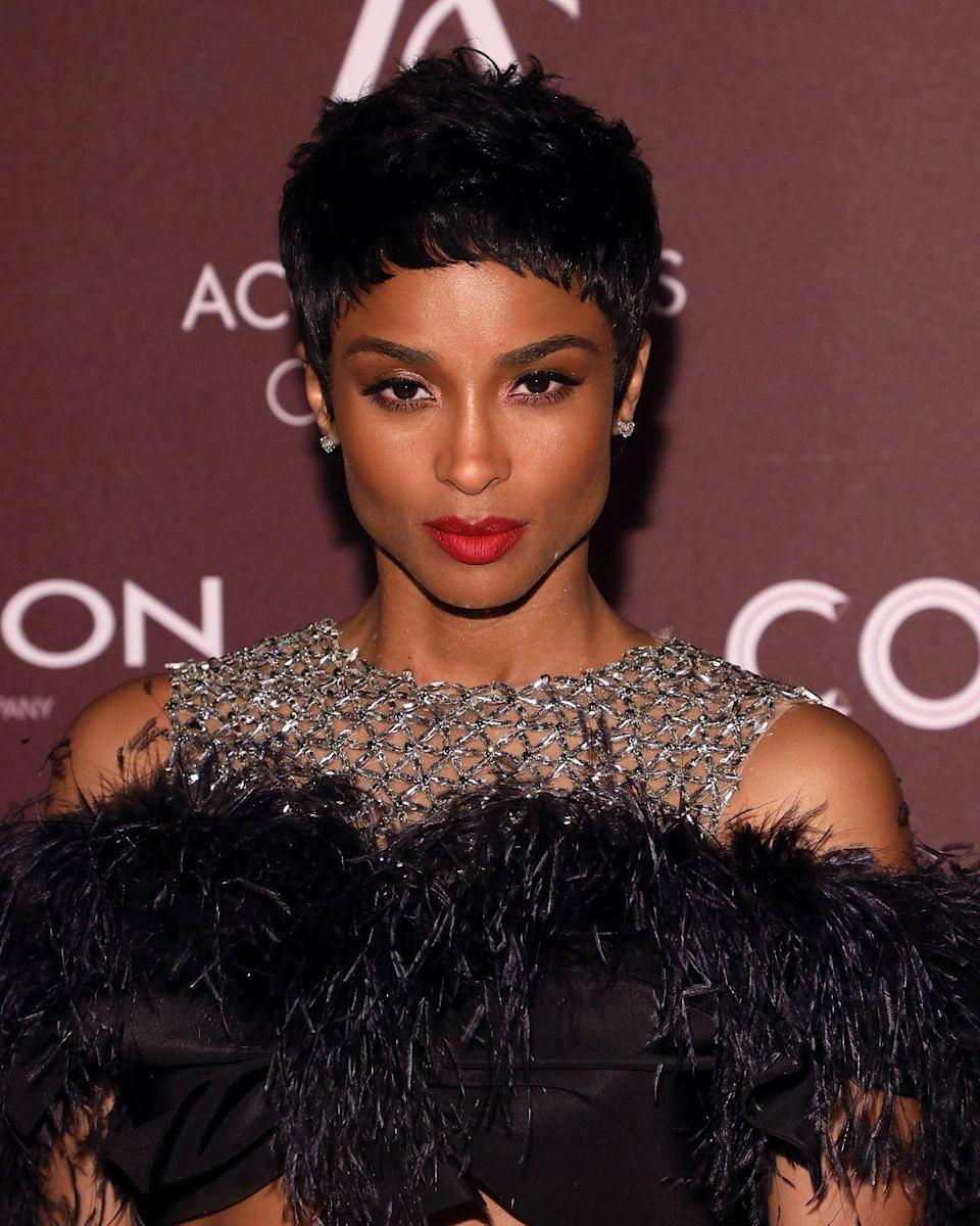 <p>Ciara loves to switch up her hair looks—it can be long and curly one day and punk and ice-blonde the next. But our favorite hairstyle as of late was this perfectly precise layered pixie cut. </p>
