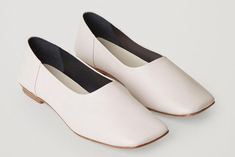 flats, square toe, white, cos