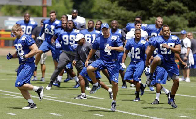 Indianapoilis colts kicker Adam Vinatieri (4) along with teammates warm up before the NFL team's football training camp in Anderson, Ind., Thursday, July 24, 2014. (AP Photo)