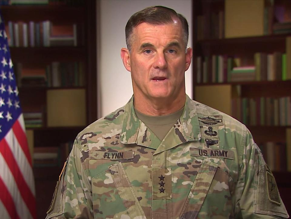 <p>Lt. Gen. Charles Flynn, deputy chief of staff for operations for the US Army</p> (USArmyWarCollege/Youtube/USArmy)