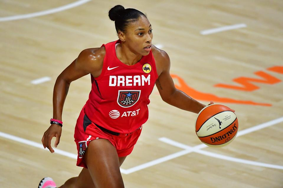 PALMETTO, FLORIDA - SEPTEMBER 11: Betnijah Laney #44 of the Atlanta Dream dribbles during the second half against the Connecticut Sun at Feld Entertainment Center on September 11, 2020 in Palmetto, Florida. NOTE TO USER: User expressly acknowledges and agrees that, by downloading and or using this photograph, User is consenting to the terms and conditions of the Getty Images License Agreement. (Photo by Julio Aguilar/Getty Images)