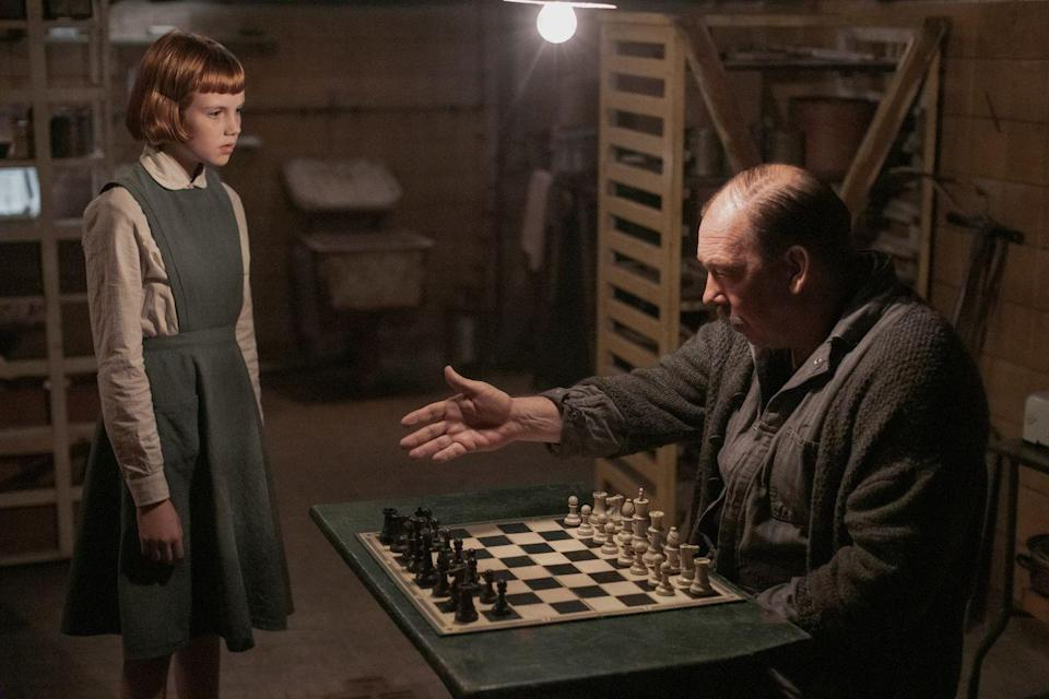 <p>Beth stumbles upon Mr. Shaibel, the orphanage's custodian, playing chess with himself in the basement soon after her arrival at Methuen, and thus begins her obsession with the game. Later, even after she's left the orphanage, he supplies her entrance fee for her first-ever chess competition. Camp has decades of film and TV credits under his belt, including, most recently, <em>Joker</em>, <em>Vice</em>, <em>The Night Of</em>, and <em>The Outsider</em>.</p>