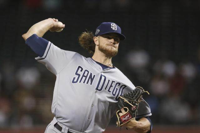 San Diego Padres starting pitcher Chris Paddack throws to an Arizona Diamondbacks batter during the first inning of a baseball game Wednesday, Sept. 4, 2019, in Phoenix. (AP Photo/Ross D. Franklin)