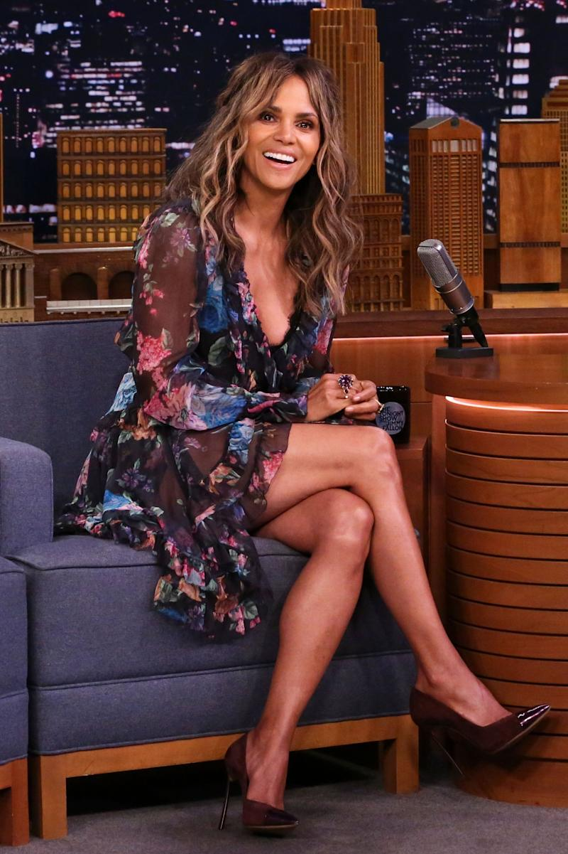 Halle Berry on a talk show