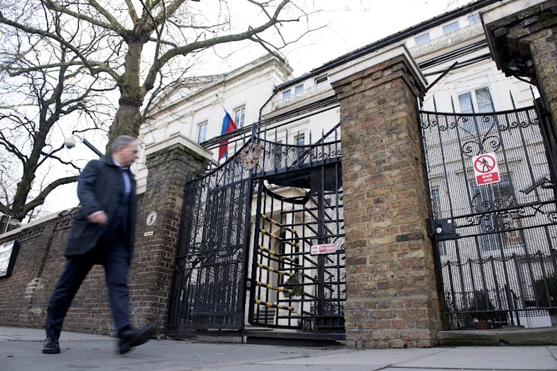 A man walks past The Russian embassy in London (AFP Photo/Justin TALLIS)