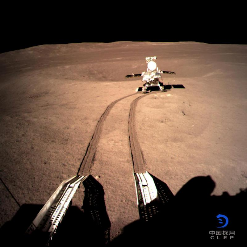 China's lunar rover Yutu-2, or Jade Rabbit 2 rolling onto the far side of the moon taken by the Chang'e-4 lunar probe is seen in this image provided by China National Space Administration January 4, 2019. Picture taken January 4, 2019. China National Space Administration/CNS via REUTERS ATTENTION EDITORS - THIS IMAGE WAS PROVIDED BY A THIRD PARTY. CHINA OUT. BEST QUALITY AVAILABLE.