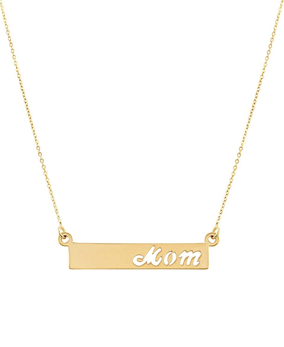 "<br><br><strong>Macy's</strong> Mom Bar 17"" Pendant Necklace in 10k Gold, $, available at <a href=""https://go.skimresources.com/?id=30283X879131&url=https%3A%2F%2Fwww.macys.com%2Fshop%2Fproduct%2Fmom-bar-17-pendant-necklace-in-10k-gold%3FID%3D8854797%26CategoryID%3D9569"" rel=""nofollow noopener"" target=""_blank"" data-ylk=""slk:Macy's"" class=""link rapid-noclick-resp"">Macy's</a>"