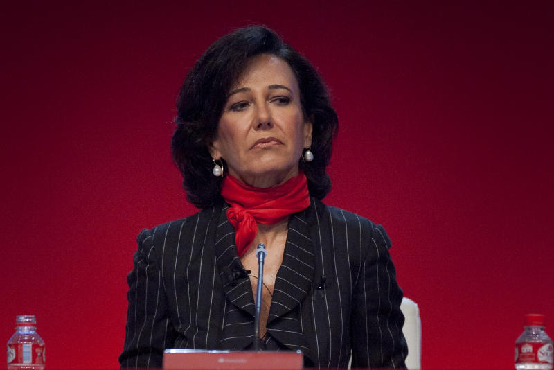 Ana Patricia Botin, daughter of Emilio Botin former president of the spanish Santander Bank, who died on last September 10, takes part on a extraordinary assembly of stockholders at Spanish Santander Bank, in Santander, northern Spain, Monday, Sept. 15, 2014. Ana Patricia Botin is the new president of Santander Bank. (AP Photo/Alvaro Barrientos)