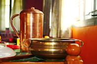 """According to Ayurveda, it is healthy to store water overnight in a copper vessel and drink from it in the morning. Copper is also a good metal to cook food in, as it has the quality to retain heat for a longer period. A team of researchers from the University of Southampton, England, has also found out that using copper pots reduces the risk of contamination from deadly bacteria such as E.Coli. This is because, on copper, the bacteria survive only for four hours. However, it is best to avoid cooking acidic food in copper as the chances of the metal leaching into food could be higher, which, can cause copper toxicity if ingested in high volumes. Image credit: Image by <a href=""""https://pixabay.com/users/SimonaRi-3391251/?utm_source=link-attribution&utm_medium=referral&utm_campaign=image&utm_content=1699780"""" rel=""""nofollow noopener"""" target=""""_blank"""" data-ylk=""""slk:Simona Ri"""" class=""""link rapid-noclick-resp"""">Simona Ri</a> from <a href=""""https://pixabay.com/?utm_source=link-attribution&utm_medium=referral&utm_campaign=image&utm_content=1699780"""" rel=""""nofollow noopener"""" target=""""_blank"""" data-ylk=""""slk:Pixabay"""" class=""""link rapid-noclick-resp"""">Pixabay</a>"""