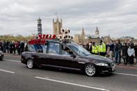 <p>The body of PC Keith Palmer, who was killed in the London terror attack, is driven through London. (Rex features) </p>