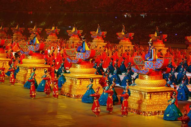 BEIJING - AUGUST 08:  Performers are pictured during the Opening Ceremony for the 2008 Beijing Summer Olympics at the National Stadium on August 8, 2008 in Beijing, China.  (Photo by Cameron Spencer/Getty Images)