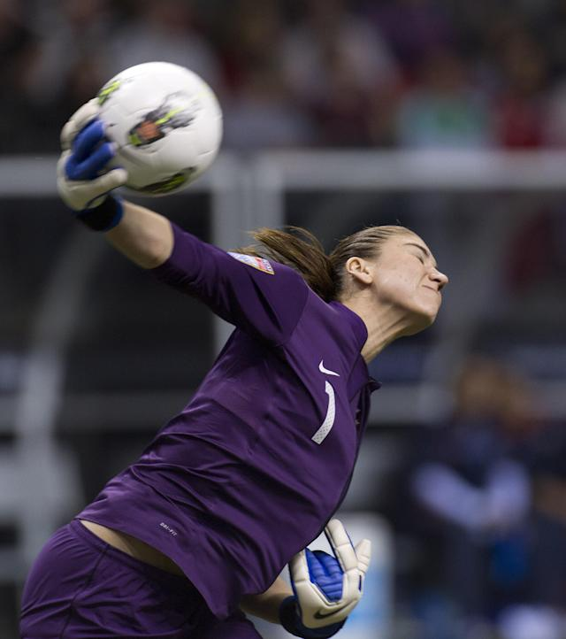 VANCOUVER, CANADA - JANUARY 27: Goalie Hope Solo #1 of the United States throws the ball back in play during the second half of semifinals action against Costa Rica of the 2012 CONCACAF Women's Olympic Qualifying Tournament at BC Place on January 27, 2012 in Vancouver, British Columbia, Canada. (Photo by Rich Lam/Getty Images)