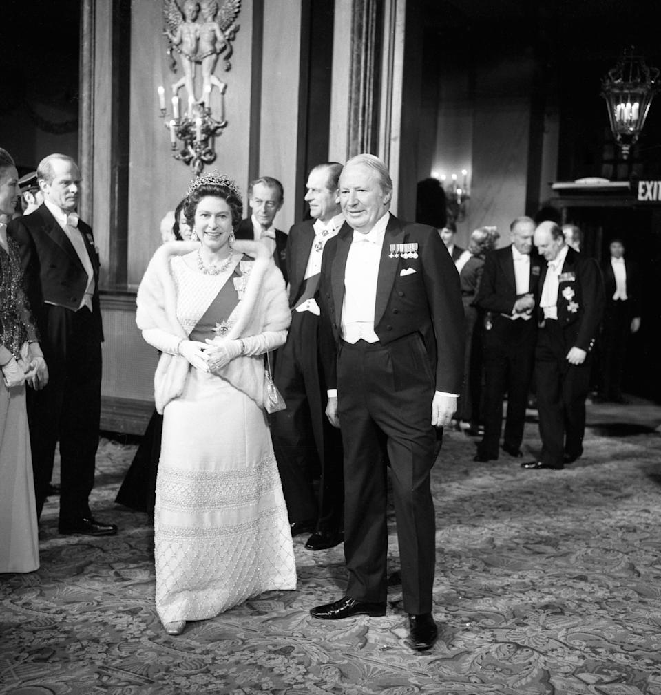 The Queen, Prime Minister Edward Heath and the Duke of Edinburgh (centre, background). Mr Heath and Her Majesty are said to have held wildly different views over her role in Europe and as head of the Commonwealth. [Photo: PA]