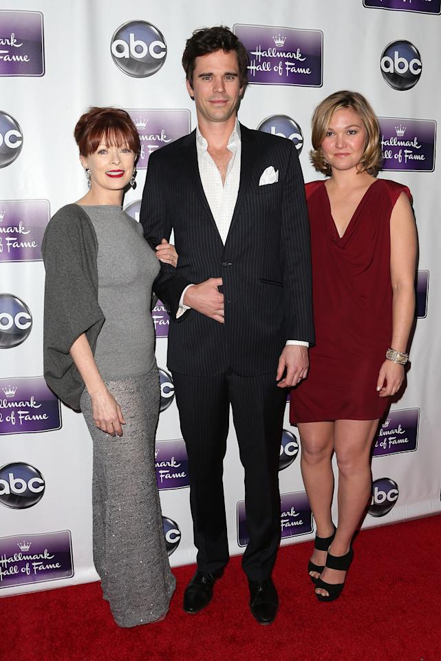 "LOS ANGELES, CA - JANUARY 22: (L-R) Actress Frances Fisher, actor David Walton and actress Julia Stiles attend the Premiere Of Disney ABC Television & The Hallmark Hall Of Fame's ""The Makeover"" at Fox Studios on January 22, 2013 in Los Angeles, California.  (Photo by Frederick M. Brown/Getty Images)"
