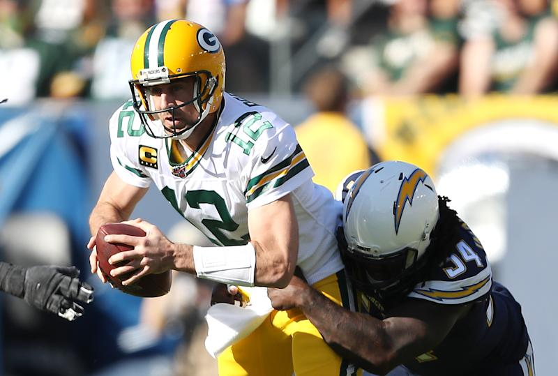 The once-humming offense of Aaron Rodgers and Matt LaFleur ran into a wall in Los Angeles. (Sean M. Haffey/Getty)