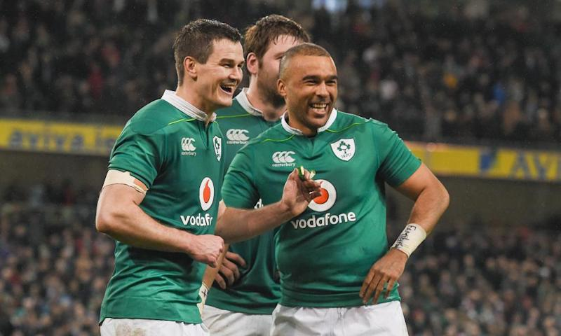 Ireland celebrate their 13-9 victory over England in the Six Nations.