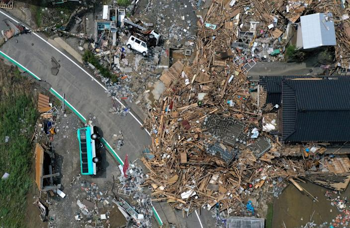 An arial view shows damage caused by floods following torrential rain in Kumamura, Kumamoto Prefecture, Japan, July 8, 2020. Picture taken with a drone. REUTERS/Kim Kyung-Hoon