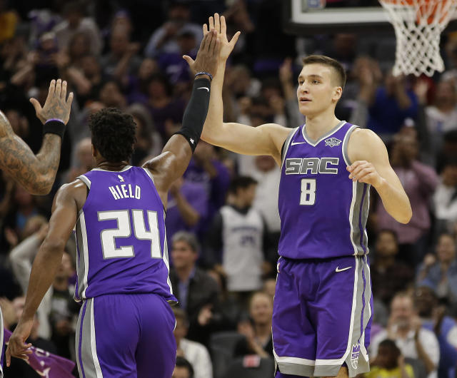 "<a class=""link rapid-noclick-resp"" href=""/olympics/rio-2016/a/1155623/"" data-ylk=""slk:Bogdan Bogdanovic"">Bogdan Bogdanovic</a> has continued to grow more comfortable in the NBA and is seeing an increase in minutes with the <a class=""link rapid-noclick-resp"" href=""/nba/teams/sac/"" data-ylk=""slk:Sacramento Kings"">Sacramento Kings</a>. (AP Photo/Rich Pedroncelli)"