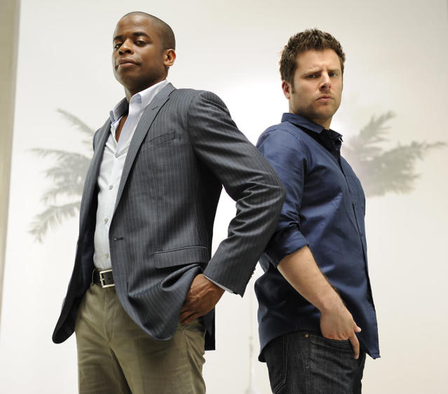 PSYCH -- Pictured: (l-r) Dule Hill as Gus Guster, James Roday as Shawn Spencer -- Photo by: Alan Zenuk/USA Network