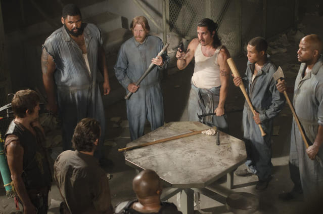 "T-Dog (Robert 'IronE' Singleton), Rick Grimes (Andrew Lincoln), Daryl Dixon (Norman Reedus), Big Tiny (Theodus Crane), Axel (Lew Temple), Tomas (Nick Gomez), Andrew (Markice Moore) and Oscar (Vincent Ward) in ""The Walking Dead"" episode, ""Sick."""