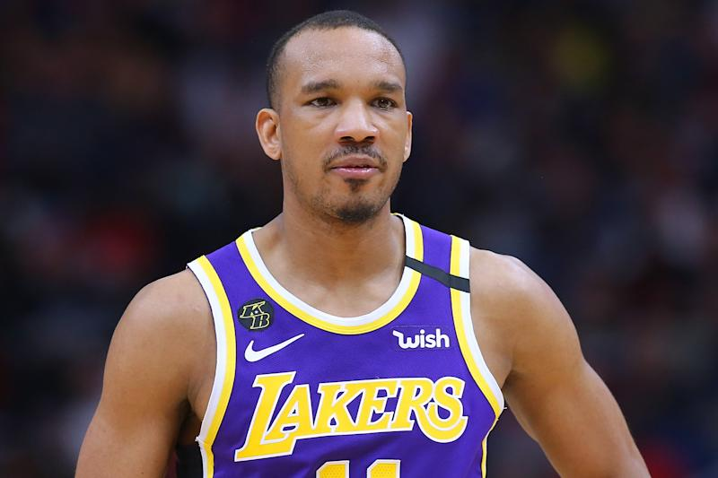 NEW ORLEANS, LOUISIANA - MARCH 01: Avery Bradley #11 of the Los Angeles Lakers reacts against the New Orleans Pelicans during the second half at the Smoothie King Center on March 01, 2020 in New Orleans, Louisiana. NOTE TO USER: User expressly acknowledges and agrees that, by downloading and or using this Photograph, user is consenting to the terms and conditions of the Getty Images License Agreement. (Photo by Jonathan Bachman/Getty Images)