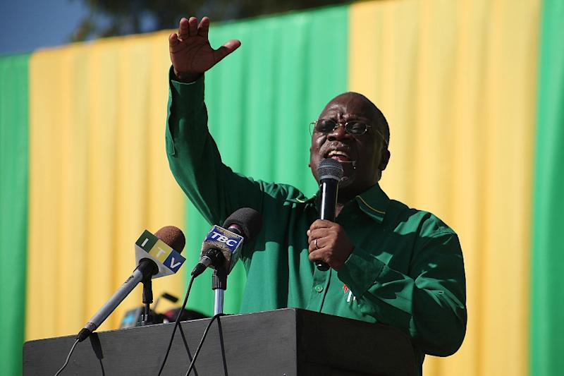 Chama Cha Mapinduzi Presidential candidate John Magufuli delivers a speech during a political rally on July 14, 2015 in Dar es Salaam (AFP Photo/Emile Costard)